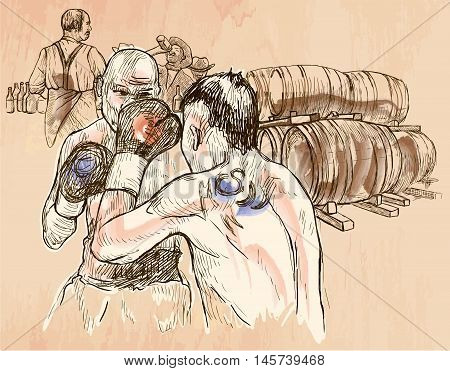 BOX. Boxing match in the pub. Freehand sketching line drawing. An hand drawn vector illustration. Colored background is isolated. Line art technique. Colored. Vector is easy editable.