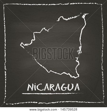Nicaragua Outline Vector Map Hand Drawn With Chalk On A Blackboard. Chalkboard Scribble In Childish