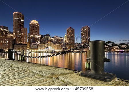 A night shot in Boston Harbor, Massachusetts