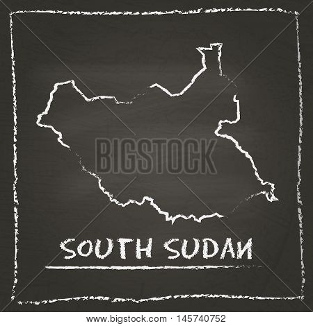South Sudan Outline Vector Map Hand Drawn With Chalk On A Blackboard. Chalkboard Scribble In Childis