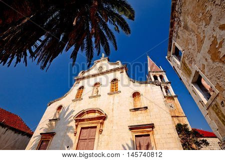 Historic church in Milna on Brac island Dalmatia Croatia