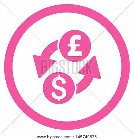 Dollar Pound Exchange rounded icon. Vector illustration style is flat iconic symbol, pink color, white background.