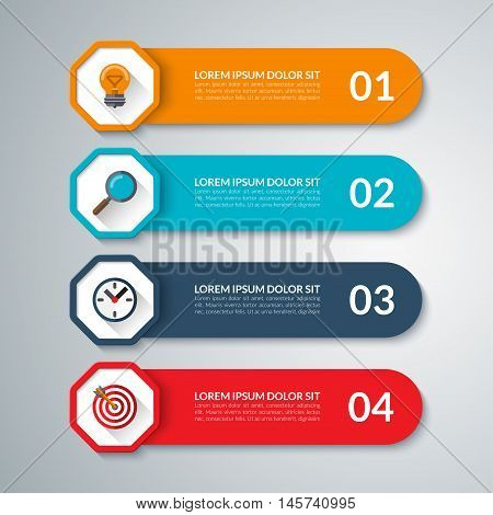 Infographic elements. Vector design template with 4 options, steps, parts. Can be used for diagram, graph, chart, report, data visualisation, web design