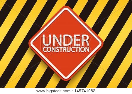 illustration of red under construction sign with stripped yellow black background