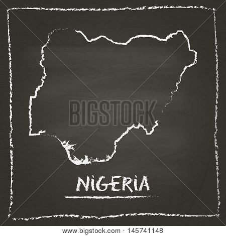 Nigeria Outline Vector Map Hand Drawn With Chalk On A Blackboard. Chalkboard Scribble In Childish St