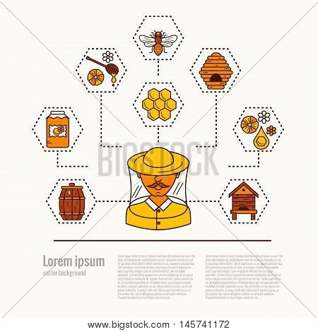 Apiary concept flat illustration. Apiary vector symbols. Bee, honey, bee house, beekeeper, Apiarist, honeycomb, beehive, flower. Outline style apiary concept. Vector apiary concept for your designs.