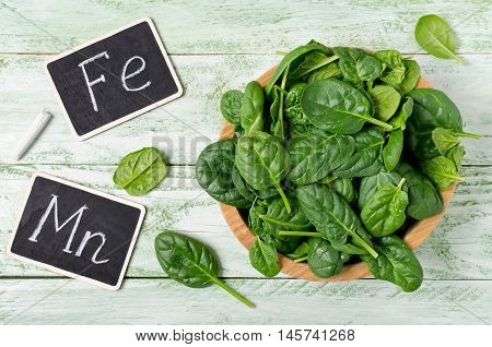 Spinach rich in vitamins and minerals. Dietary product for the prevention of various diseases