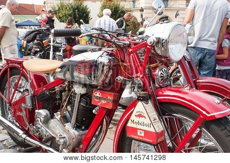 TISNOV, CZECH REPUBLIC - SEPTEMBER 3, 2013: The traditional meeting of fans of vintage cars and motorbikes. Model: JAWA 350 OHV