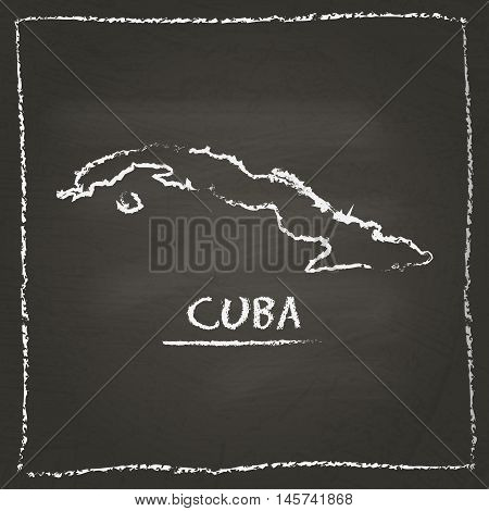 Cuba Outline Vector Map Hand Drawn With Chalk On A Blackboard. Chalkboard Scribble In Childish Style