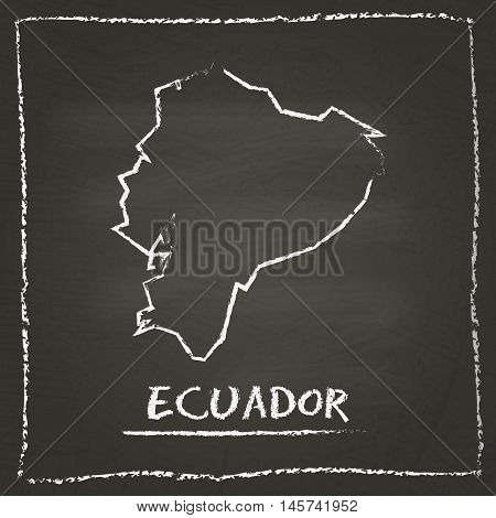 Ecuador Outline Vector Map Hand Drawn With Chalk On A Blackboard. Chalkboard Scribble In Childish St