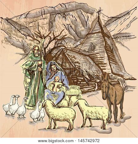 Holy family. Baby jesus - Birth of JESUS. Freehand sketching line drawing. An hand drawn vector illustration. Colored background is isolated. Line art technique - colored. Vector is easy editable.