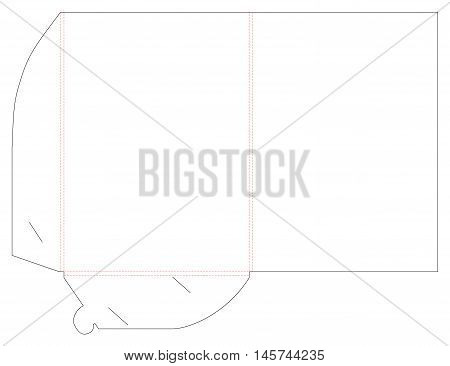 Folder and die cut, stamp. Empty shablon template for blank and card with lock. Vector black isolated circuit, line folder on white background. For A4 paper,
