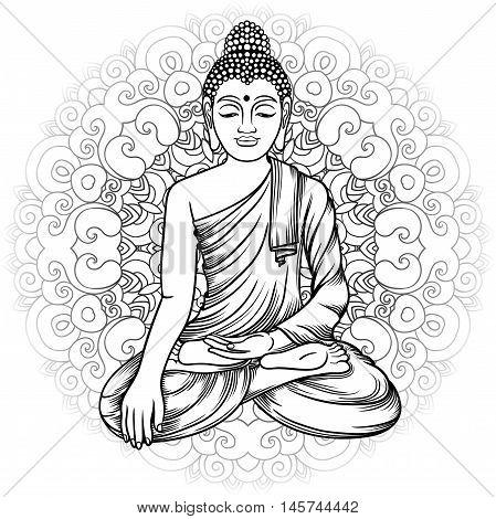 Buddha Gautama With Mandala Vector Illustration. Vintage Decorative Zentangle Hand Drawing. Indian B