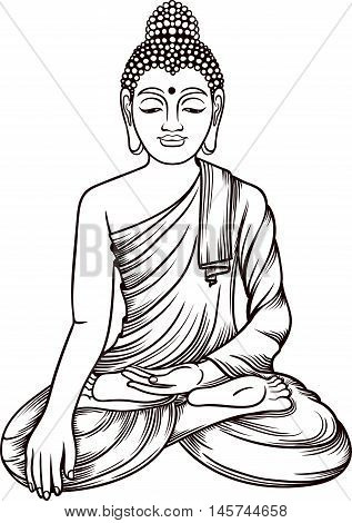 Buddha Gautama Vector Illustration. Vintage Decorative Zentangle Buddha Composition. Indian Buddhism