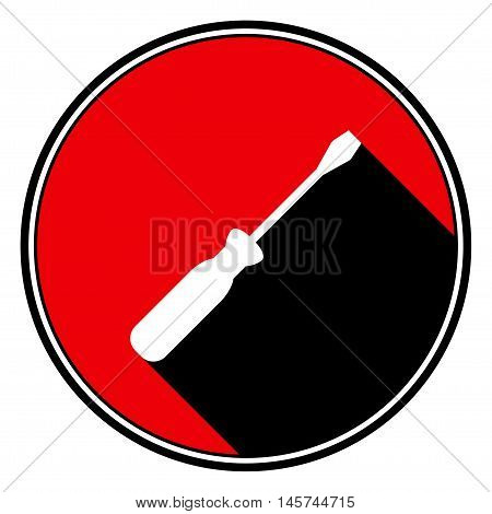 information icon - red circle black outline and white screwdriver with stylized black shadow