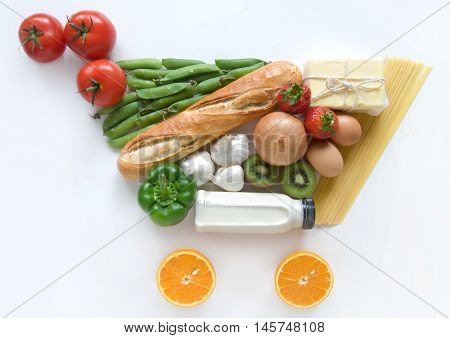 Grocery shopping cart shape made from food ingredients