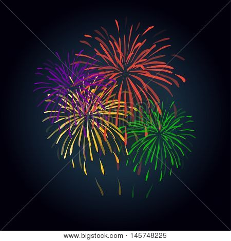 Fireworks colorful shapes on black background. Fireworks icon, flat design, Festive card. Vector illustration. Festive patterned firework bursting in various shapes sparkling pictograms against black background. Clip Art. 2017