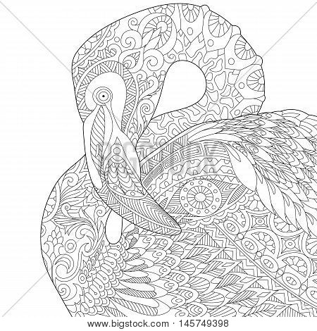 Stylized flamingo bird isolated on white background. Freehand sketch for adult anti stress coloring book page with doodle and zentangle elements.