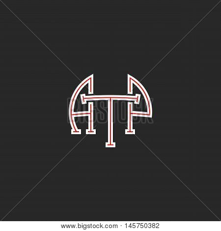 Logo Atp Letters Hipster Monogram, Combination Initials A T P Together, White And Red Thin Line Busi