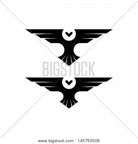 Owl logo silhouette raptor in flight with spread wings in the style of negative space simple black and white tattoo template