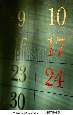 dark grungy calendar dates