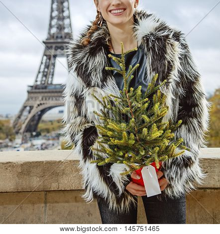The Party Season in Paris. Closeup on happy trendy fashion-monger with Christmas tree in fur coat against Eiffel tower in Paris France looking into the distance