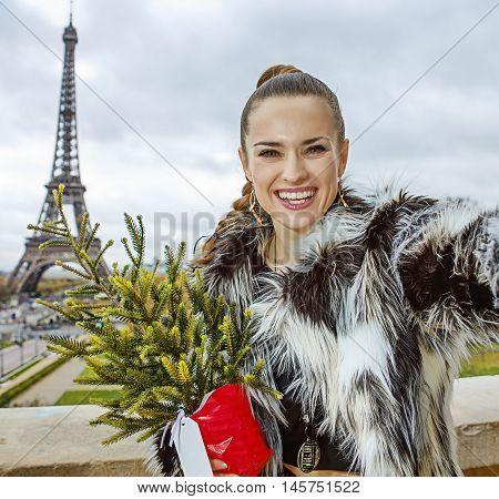 Smiling Fashion-monger With Christmas Tree Taking Selfie In Paris