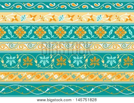Decorative persian borders done as samples and vector brushes