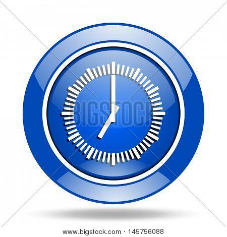 Blue glossy round web clock vector icon