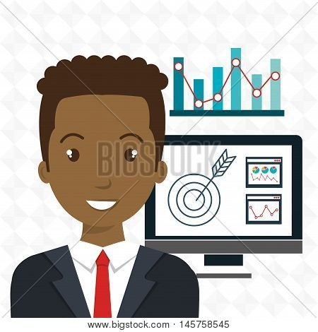 man pc graphics statistics vector illustration eps 10