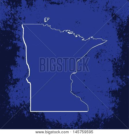 3D Minnesota (USA) Grunge Blueprint outline map with shadow