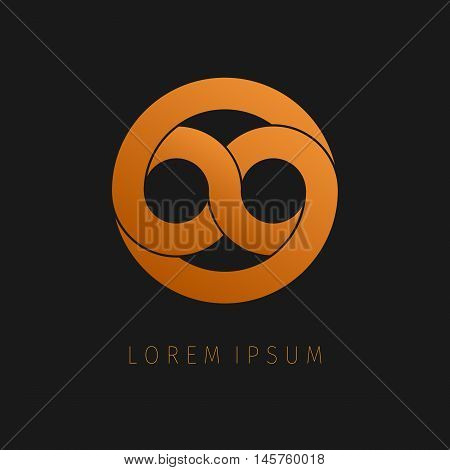 Orange infinity limitless icon. Logo template design eternity loop modern visual eight.