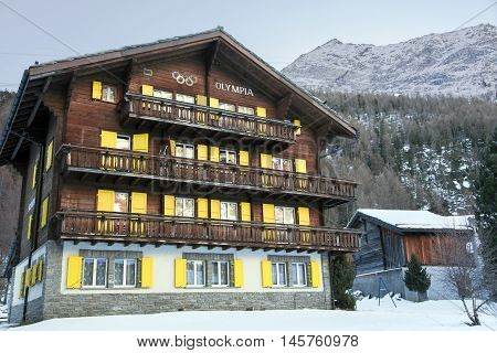 SWITZERLAND, SAAS-FEE, DECEMBER, 27, 2015 - Beautiful modern hotel OLYMPIA in the charming Swiss resort of Saas-Fee, Switzerland