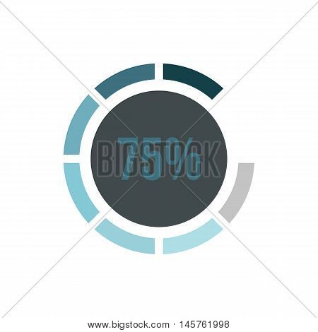 Sign 75 load icon in flat style isolated on white background. Loading symbol vector illustration