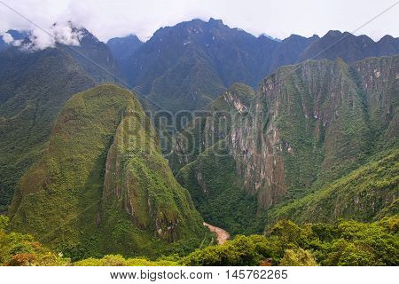 Urubamba River valley near Machu Picchu in Peru. This river formed the Sacred Valley which was appreciated by the Incas due to its special geographical and climatic qualities