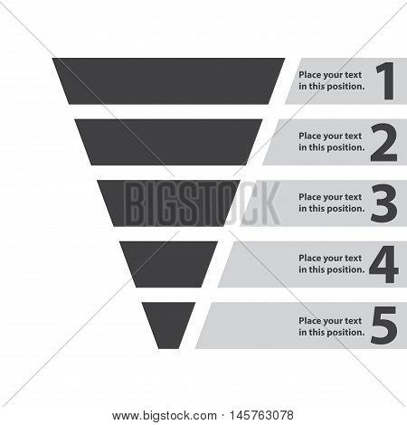 Funnel symbol. Business infographic and web design element. Template for marketing, conversion or sales. Vector illustration.