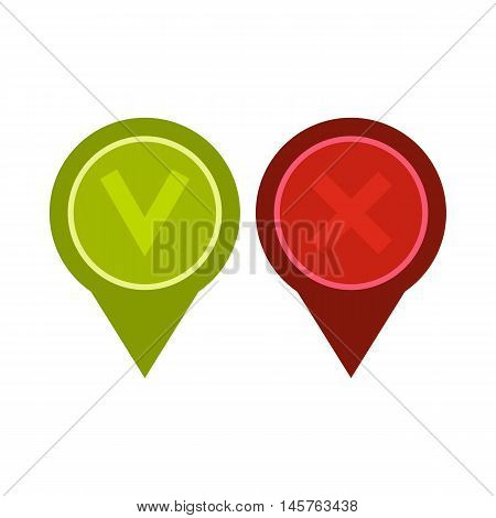 Tick affirmative and negative icon in flat style isolated on white background. Click and choice symbol vector illustration