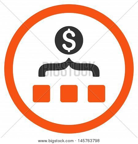 Money Aggregator rounded icon. Vector illustration style is flat iconic bicolor symbol, orange and gray colors, white background.