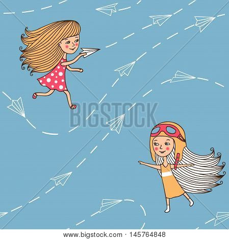 Seamless pattern with airplanes and girls. Cute girls in retro style play airplanes. Planes of paper with the drawn contour of the hand. Vector illustration in cartoon style.