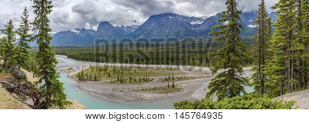 Panorama Of The Athabasca River - Jasper National Park