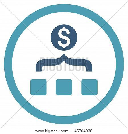 Money Aggregator rounded icon. Vector illustration style is flat iconic bicolor symbol, cyan and blue colors, white background.