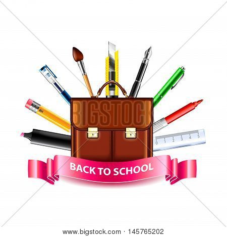 Schoolbag and drawing tools back to school concept on white background