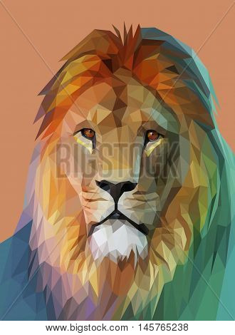 Lion portrait. Low poly design. Polygonal illustration vector eps 10