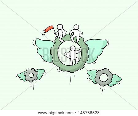 Sketch of flying cogwheels with little workers. Doodle cute miniature about technology. Hand drawn cartoon vector illustration for business and industry design.