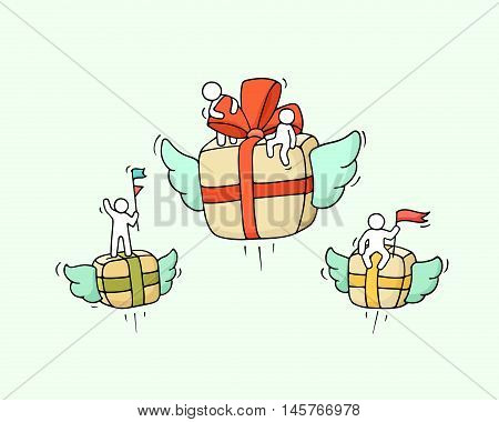 Sketch of flying gift box with little workers. Doodle cute miniature about celebration. Hand drawn cartoon vector illustration for business and holiday design.