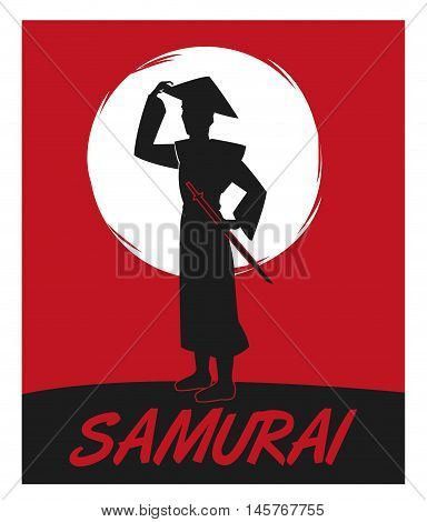 Samurai man cartoon with uniform icon. comic and japan culture. Colorful design. Red night background. Vector illustration