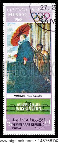 YEMEN - CIRCA 1968 : Cancelled postage stamp printed by Yemen, that shows painting by Van Dyck.