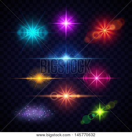 Realistic color lens flare light effects, vector party lights set. Multi-colored bright flashes illustration