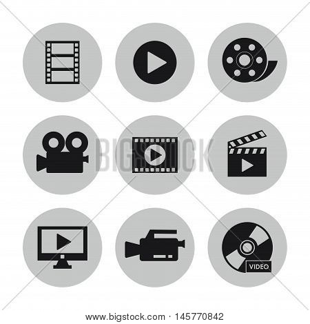 videocamera play tv cd clapboard and film icon. Video movie cinema and media theme. Black and white design. Vector illustration