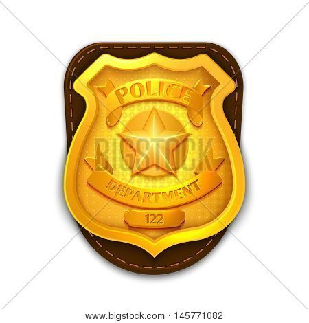 Gold realistic police, detective vector badge with shield. Icon police department illustration